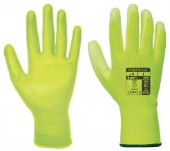 Rukavice A120 bezešvý nylonový úplet povrstvený polyuretanem žluté velikost L
