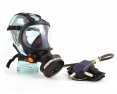 Celoobličejová maska Sundström SR 200 skleněný zorník vstup na tlakový vzduch modrá