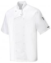 Kuchařský rondon ABERDEEN CHEFS 100% bavlna krátký rukáv dvouřadý bílý velikost XL