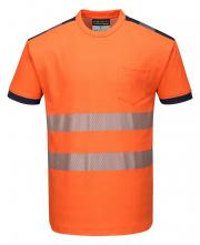 Tričko HiVis PW3 BA/PES krátký rukáv  segmentované vodorovné reflexní pruhy HV oranžové