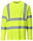 Tričko Hi-Vis Cotton Comfort dlouhý rukáv 2 vodorovné a svislé reflexní pruhy HV žluté