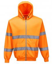 Mikina KLOKANKA Hi-Vis ZIP s kapucí zapínání na zip reflexní pruhy výstražná oranžová
