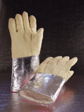 Rukavice SAHARA S5 AL prstové tepluodolné aramidové pokovená manžeta 600 °C 420 mm žluté