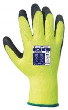 Rukavice Thermal Grip úplet PES potažený latexem zateplené žluto/černé