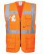 Vesta EXECUTIVE BERLIN výstražná kapsy zip 2 vodorové + svislé reflexní pruhy HV oranžová