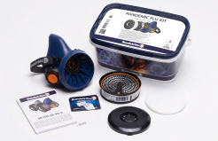 Sada polomaska Sundström Pandemic Flu Kit polomaska SR100 filtr P3R D + přefiltr P čistící ubrousek modrá