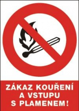 Tabulka Zákaz používání otevřeného ohně a kouření