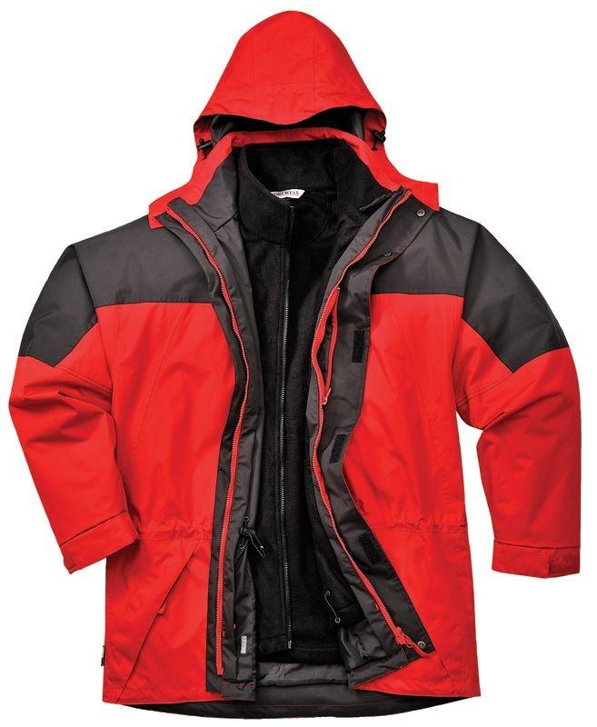 Bunda AVIEMORE 3v1 voděodolná s odepínací vložkou červeno/černá velikost XL