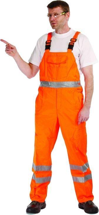 Kalhoty KOROS s laclem výstražné pruhy oranžové velikost 54