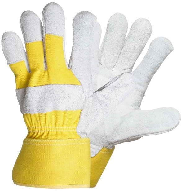 Rukavice EIDER kombinované zesílené žlutá bavlna/hovězí štípenka velikost 10