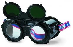 Brýle svářečské UVEX uzavřené výklopné ochranné předsádky zelené zorníky