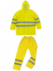 Oblek 208 do deště Oxford polyester potažený PVC reflexní pruhy žlutý velikost XXL