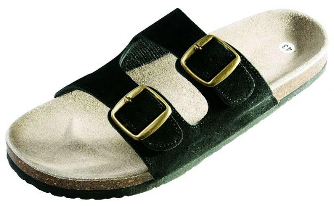 Obuv PUDU pantofle korková podešev černé velikost 36
