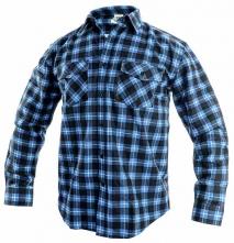 Košile pracovní TOM flanelová kostkovaná dlouhý rukáv modrá velikost XL