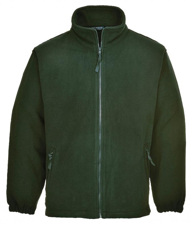 Mikina flísová ARAN volná se zapínáním na zip tmavě zelená velikost L