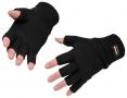 Rukavice KnitGlove pletené z akrylu zateplené podšívkou Thinsulate volné konečky prstů černé
