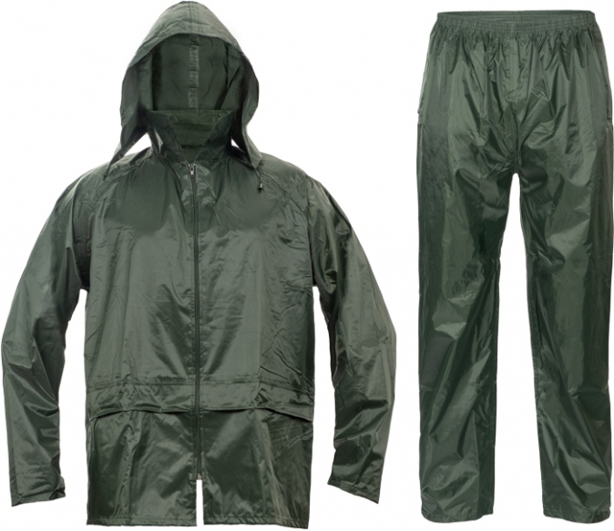 Oblek CARINA polyester potažený polyurethanem kapuce zelený velikost L