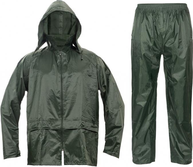 Oblek CARINA polyester potažený polyurethanem kapuce zelený velikost XXXL