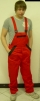 Montérkové kalhoty KOLÍN laclové červeno/černé velikost 50