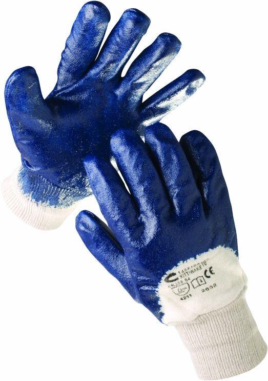 Rukavice CERVA HARRIER polomáčené v nitrilu pružná manžeta modré velikost 7
