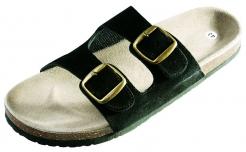 Obuv PUDU pantofle korková podešev černé velikost 42