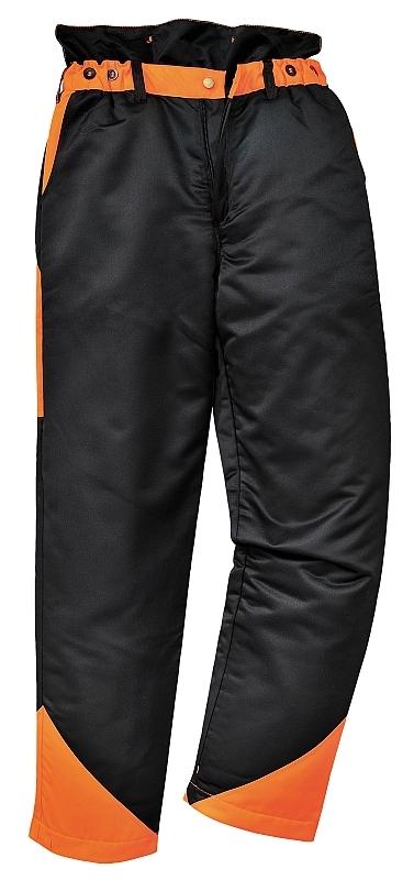 Kalhoty OAK do pasu pro práci s motorovou pilou černo/oranžové velikost XL