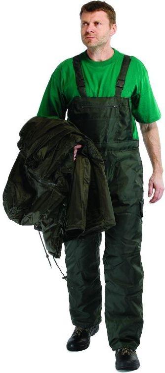 Kalhoty TITAN s laclem zateplené pružné šle zelené velikost XXXL
