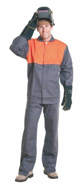 Montérkové kalhoty MOFOS svářečské do pasu šedé velikost 50