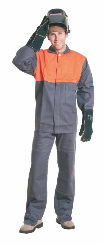 Montérkové kalhoty MOFOS svářečské do pasu šedé velikost 52