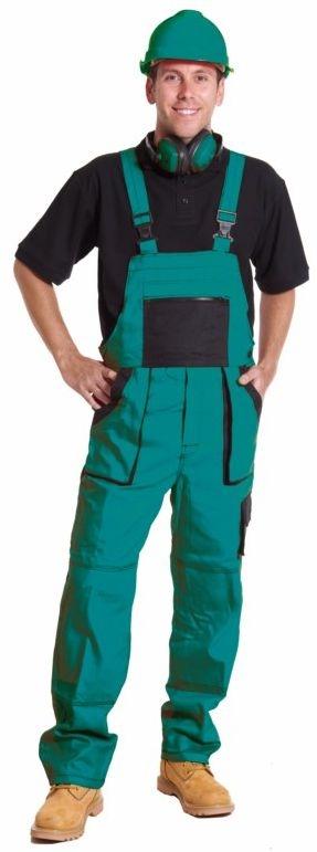 Montérkové kalhoty LUX EMIL s laclem zeleno/černé velikost 64