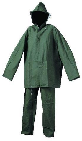 Oblek HYDRA PVC/polyester kalhoty pas a blůza s kapucí zelený velikost L