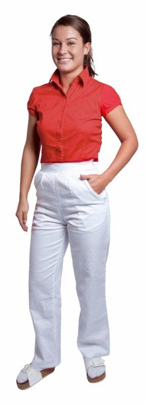 Kalhoty DARJA dámské do pasu bavlna bílé velikost 44