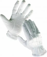 Rukavice CERVA BUSTARD bavlněné PVC čočka stažené do gumičky velikost 10