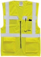 Výstražná vesta EXECUTIVE na zip s kapsami žlutá velikost S