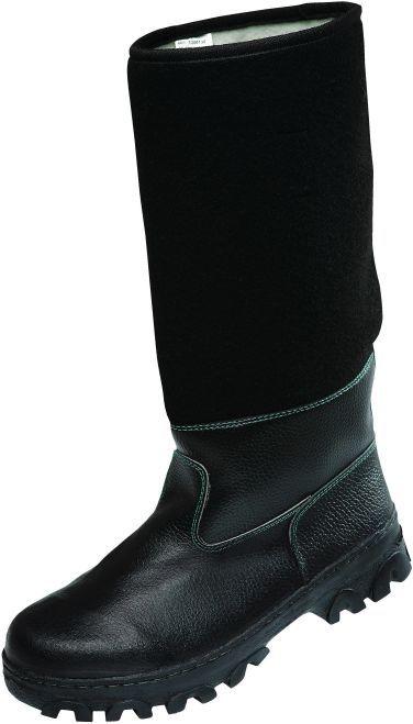 Obuv TIMUR holeňová koženofilc zateplená černá velikost 47
