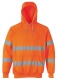 Mikina KLOKANKA Hi-Vis s kapucí reflexní pruhy výstražná oranžová velikost L