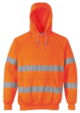 Mikina KLOKANKA Hi-Vis s kapucí reflexní pruhy výstražná oranžová velikost XL