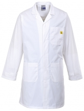 Antistatický pracovní plášť ESD s kapsami a nastavitelnými rukávy bílý velikost XL