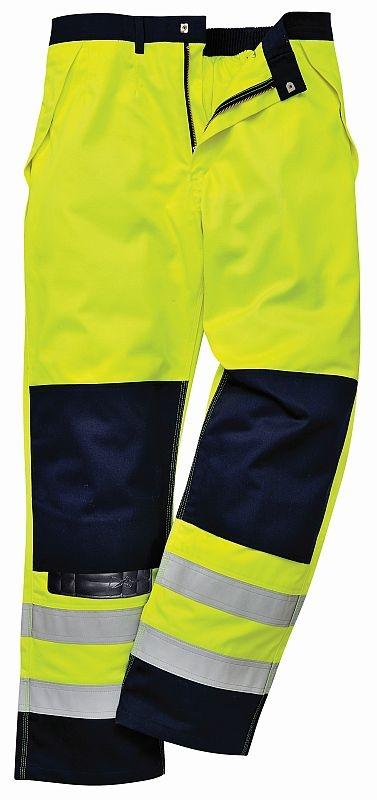 Kalhoty BIZFLAME MULTI do pasu antistatické elektroodolné nehořlavé výstražné svítivě žluté/tmavě modré velikost XXL