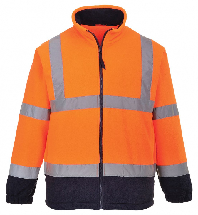 Mikina Hi-Vis flísová reflexní pruhy oranžová/ tmavě modrá velikost XL