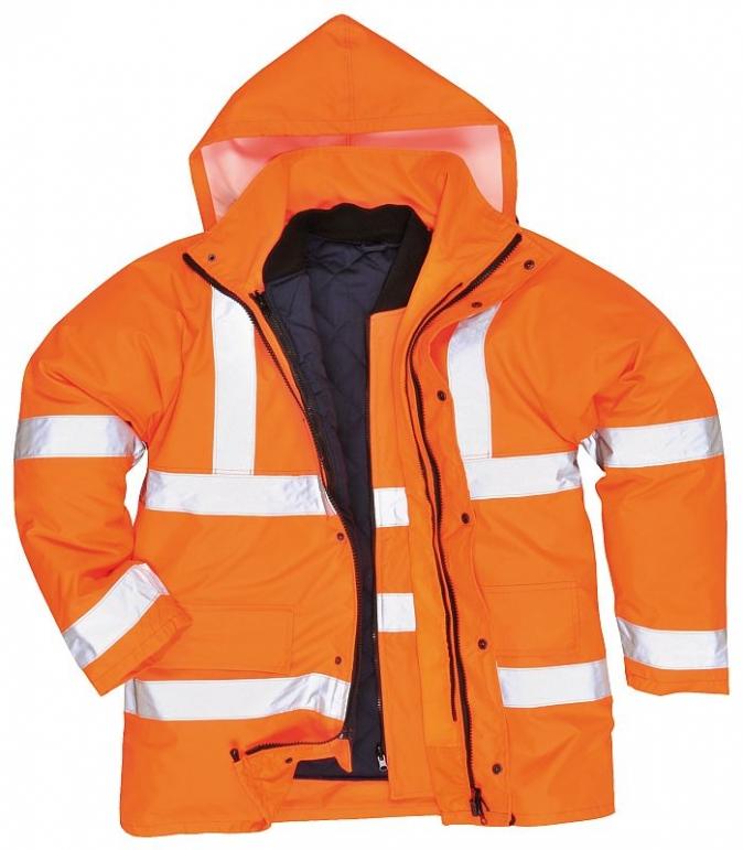 Bunda TRAFFIC 4v1 Hi-Vis reflexní pruhy výstražná oranžová velikost XL