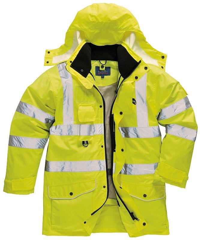 Bunda TRAFFIC 7 v 1 Hi-Vis kapuce zateplená výstražná žlutá velikost XL