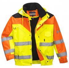 Bunda Bomber Contrast Plus do pasu černé sedlo vysoceviditelná žluto/oranžová velikost XL