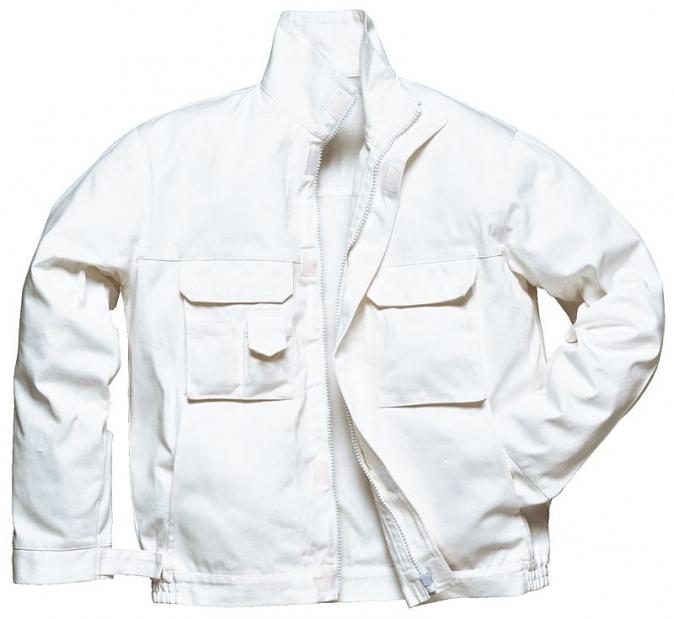 Montérková blůza BOLTON PAINTERS zapínání na zip bílá velikost XXL