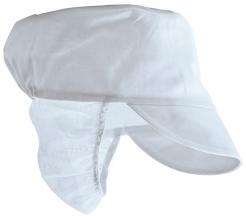 Čepice Snood Chef se štítkem vzadu prodloužená síťovina na vlasy bílá