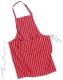 Zástěra Butcher Pocket s kapsou na břiše pruh přes krk červená s bílými pruhy