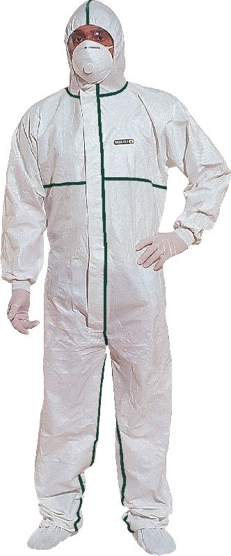 Kombinéza DELTATEC® 5000 multisafe zatavené švy kapuce bílá velikost XL