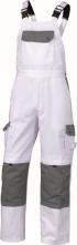 Montérkové kalhoty TERAMO s náprsenkou a šlemi bílo/šedé velikost L