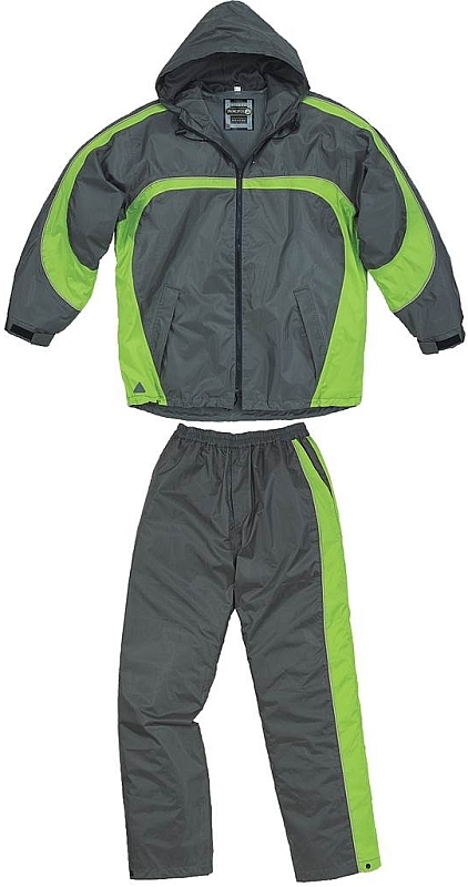 Oblek TIVANO šusťáková souprava kalhoty pas a bunda s kapucí šedo/zelený velikost XXL