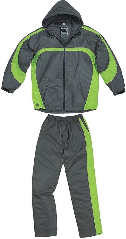 Oblek TIVANO šusťáková souprava kalhoty pas a bunda s kapucí šedo/zelený velikost XXXL